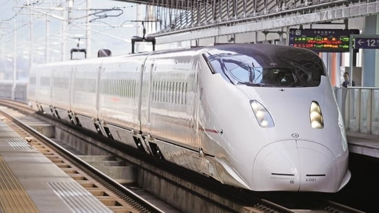 The Mumbai-Ahmedabad bullet train project, which will connect the two cities through a high-speed rail network, was scheduled to be completed by December 2023 but has been delayed by the Covid-19 pandemic (Bloomberg/ Representative Image)(Bloomberg / Photo used for representational purpose only)