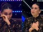 Karisma Kapoor tears up on the sets of Super Dancer 4.
