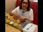 The image shows Neena Gupta enjoying dosa.(Instagram/@ neena_gupta)