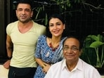 Eijaz Khan with Pavitra Punia and his father.