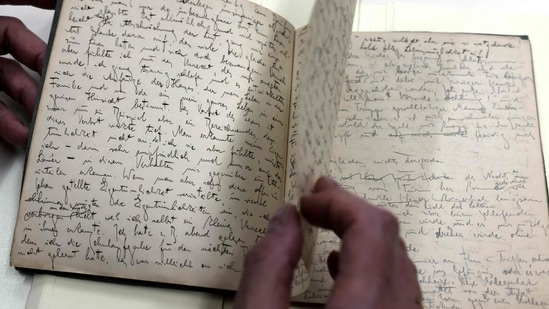 Original manuscripts written in German by Jewish German-speaking novelist and story writer Franz Kafka are now online for the first time, following an intensive years-long process of conservation and restoration work, cataloguing and digitisation of the work of one of the major figures of 20th-century literature.(Photo by MENAHEM KAHANA / AFP)
