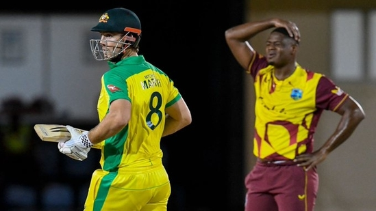 Mitchell Marsh scored a 44-ball 75 in the 4th T20I against West Indies(ICC / Twitter)