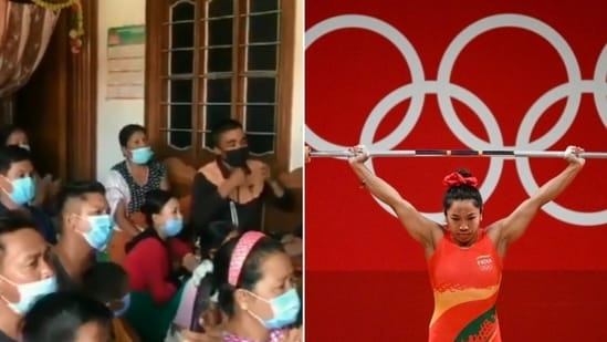 The video of Mirabai Chanu's family and neighbours reacting to her win is heartwarming.(Twitter/@ANI)