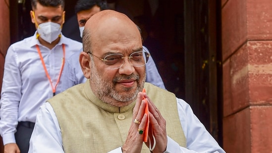 Union home minister Amit Shah during the monsoon session of Parliament in New Delhi on Thursday, July 22, 2021. (Kamal Kishore / PTI)