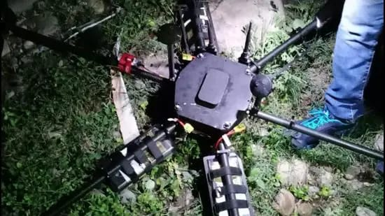 File photo: The drone shot down by police in Kanachak area in Jammu district. (Sourced)