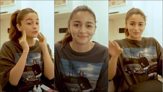 Alia Bhatt slays the post pandemic fashion in a plus size black T-shirt(YouTube/AliaBhatt)