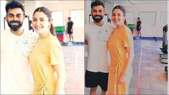 When Anushka Sharma dolled up in Zara's <span class='webrupee'>₹</span>1.8k midi dress, Virat Kohli flaunted Vamika's burp cloth(Instagram/sanjaypahal_/kushaalwadhwani)