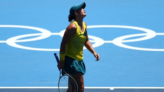 Ashleigh Barty of Australia reacts after losing her first-round match against Sara Sorribes of Spain.(REUTERS)