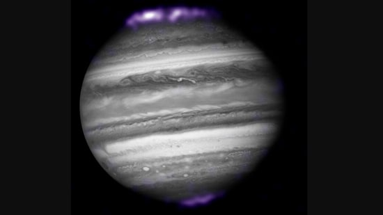 The image of Jupiter's auroras was shared on Instagram by Nasa.(Instagram/@nasa)