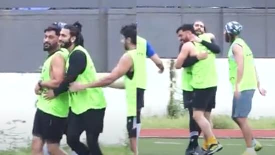 Ranveer Singh and MS Dhoni at a football match in Mumbai on Sunday.(Varinder Chawla)