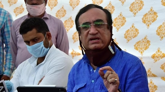 Congress leader Ajay Maken speaks at a press conference in Jaipur.(ANI)