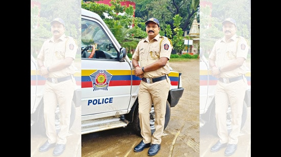 Havildar Amol makes videos after his shift but he avoids doing anything for social media while he is on duty (above)