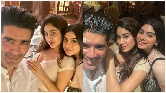 Manish Malhotra shared photos with Janvhi Kapoor and Khushi Kapoor.