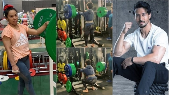 Tiger Shroff takes weightlifting inspo from Mirabai Chanu, lifts 140 kgs during barbell front squat(Instagram/tigerjackieshroff/mirabai_chanu)