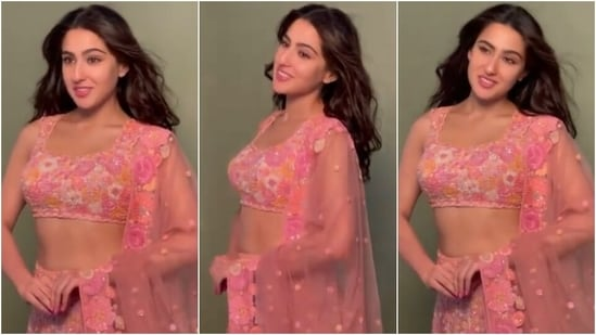 Sara Ali Khan in blush pink lehenga set exudes royalty, fans call her Queen(Instagram/@tanghavri)