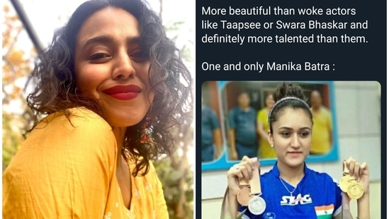 Swara Bhasker reacted to a meme unfavourably comparing her and Taapsee Pannu with Manika Batra.