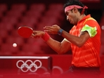 India's Sharath Kamal in action(Twitter)