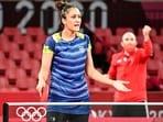 Tokyo: India's Manika Batra during her Summer Olympics 2020 table tennis round 3 match against Austria's Sofia Polcanova, in Tokyo, Monday, July 26, 2021. Batra lost 0-4.(PTI)