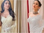 Kiara Advani in <span class='webrupee'>₹</span>66k floral saree takes cues from Gauahar Khan for Shershaah trailer launch(Instagram/@kiaraaliadvani, @gauaharkhan)
