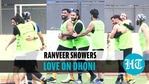 Ranveer Singh and MS Dhoni shared light moments during a football match in Mumbai