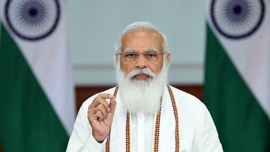 Prime Minister Narendra Modi addresses through video conferencing in New Delhi. (ANI Photo)
