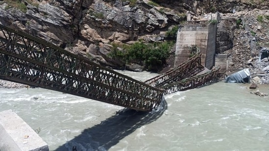 A bridge collapsed due to a landslide at Batseri of Sangla valley in Kinnaur District on Sunday. (ANI Photo)