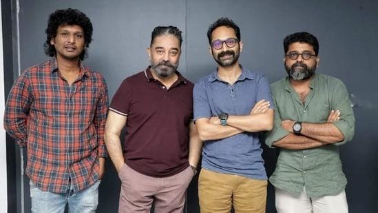 Kamal Haasan and Fahadh Faasil pose with Malik director Mahesh Narayanan (extreme right) and Vikram director Lokesh Kanagaraj (extreme left).