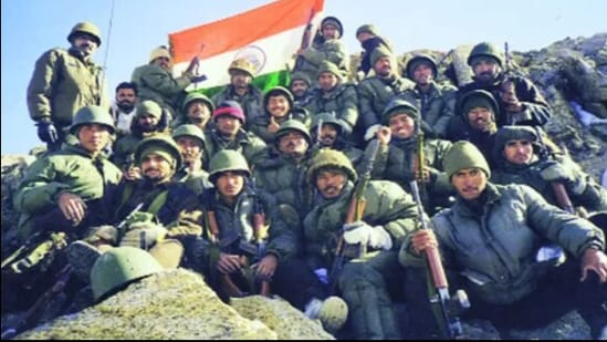 The victorious Indian troops.