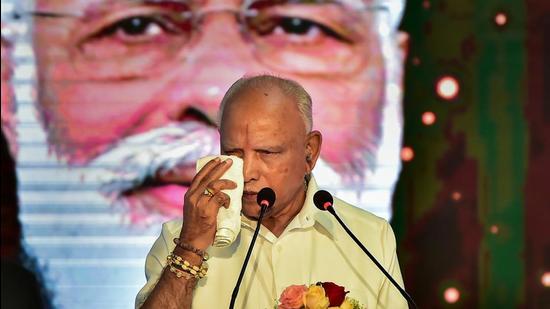BS Yediyurappa during a programme commemorating two years of the BJP government in Karnataka at Vidhanasoudha in Bengaluru, Monday. (PTI)