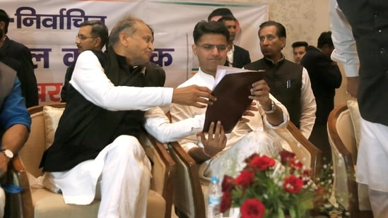 This was the first time since the Sachin Pilot camp's rebellion that the central Congress leaders held such discussions with Ashok Gehlot. (Himanshu Vyas/ HT Photo)