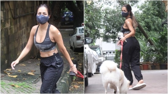 Malaika looked fit and glam in her monotone ensemble, but with a twist, for the outing. She nailed the effortless vibes required to slay a street-ready look.(Varinder Chawla)