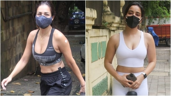Malaika Arora and Neha Sharma were snapped out and about in Mumbai. The two stars enjoyed their day out in chic gym wear and showed us how to style sports bras to make street-ready ensembles look chicer.(Varinder Chawla)