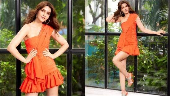Kriti Sanon cuts a playful, sensuous silhouette at Mimi promotions in orange mini dress(Instagram/seduirebymahimamadaan)