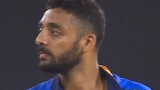 Varun Chakravarthy during his debut T20I against Sri Lanka.(Twitter)