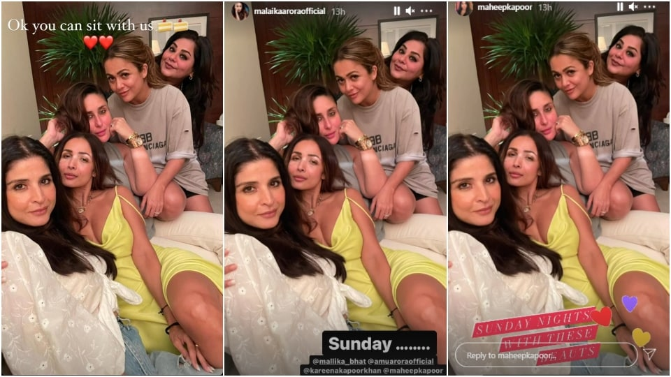 Screenshot of Kareena Kapoor Khan, Malaika Arora and Maheep Kapoor's Instagram stories.