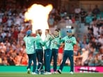 A still from the men's game at The Hundred between Oval Invincibles and Manchester Originals(Action Images via Reuters)