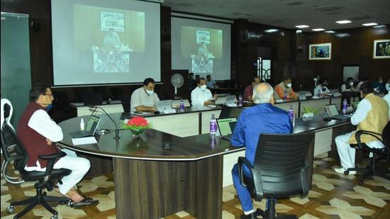 Uttarakhand chief minister Pushkar Singh Dhami chairs Cabinet meeting in Dehradun on Tuesday, July 27. (HT photo)