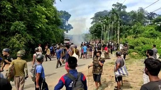 Clashes broke out at the Assam-Mizoram border, on Monday. (ANI)
