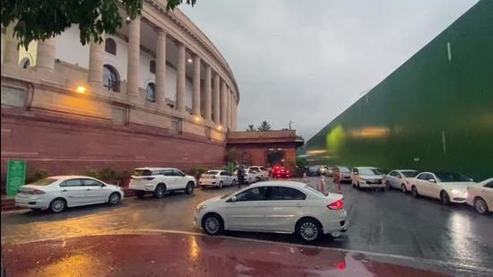 Rain lashes parts of Delhi-NCR, at Parliament in New Delhi on Tuesday. (ANI)