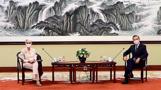 US Deputy Secretary of State Wendy Sherman meets Chinese Foreign Minister Wang Yi in Tianjin on Monday.ap(MINT_PRINT)