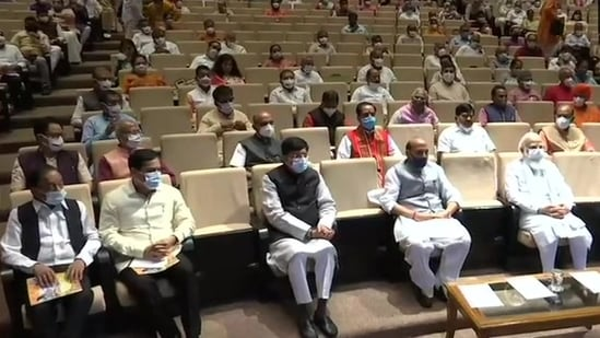 PM Modi along with other MPs at the BJP parliamentary meeting on Tuesday. (ANI)