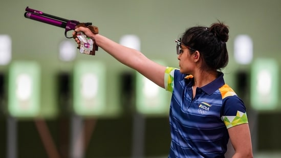 India's Manu Bhaker during the 10m Range Air Pistol Mixed Team event at Tokyo Olympics(PTI)