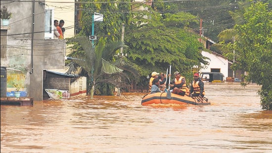 """Boats deployed to rescue stranded residents after heavy rain caused the Panchganga river to overflow and flood Kolhapur on July 24. Inclusive partnerships is needed to ensure cities pass the """"climate tests"""". (ANIL VELHAL/HT)"""