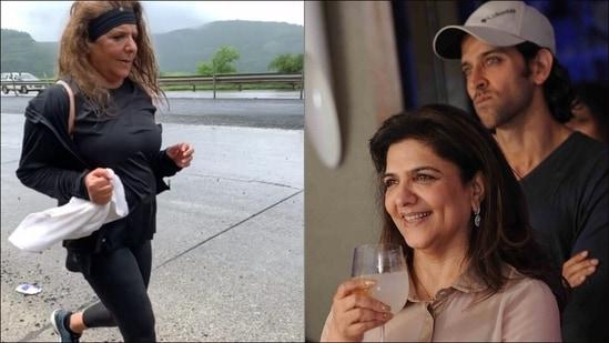 Hrithik Roshan cheers as Pinkie Roshan sprints in fitness video, says 'Keep going mama'(Instagram/pinkieroshan)