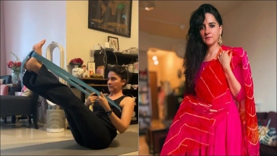 Shruti Seth's belt supported abdominal workout is perfect Iyengar Yoga for home(Instagram/shru2kill)