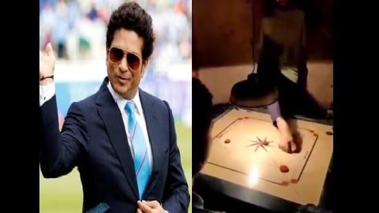 Sachin Tendulkar shared the video of Harshad Gothankar playing carrom.(Twitter/@sachin_rt)