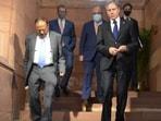 National Security Advisor (NSA) Ajit Doval with US Secretary of State Antony Blinken on Wednesday.