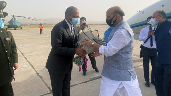 Defence Minister Rajnath Singh reached Tajikistan's capital Dushanbe on Tuesday for a three-day visit.(ANI Photo)