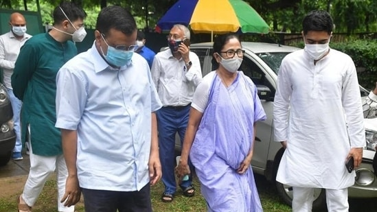 West Bengal chief minister leaves after her meeting with her Delhi counterpart Arvind Kejriwal in the national capital on Wednesday. (ANI)