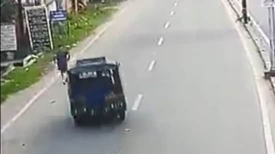 Dhanbad additional sessions and district judge Uttam Anand was jogging along the road early on Wednesday when the three-wheeler hit him (CCTV grab/@Join_AmitSingh)